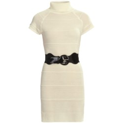 She's Cool Belted Sweater Dress - Turtleneck, Short Sleeve (For Women) in Cream