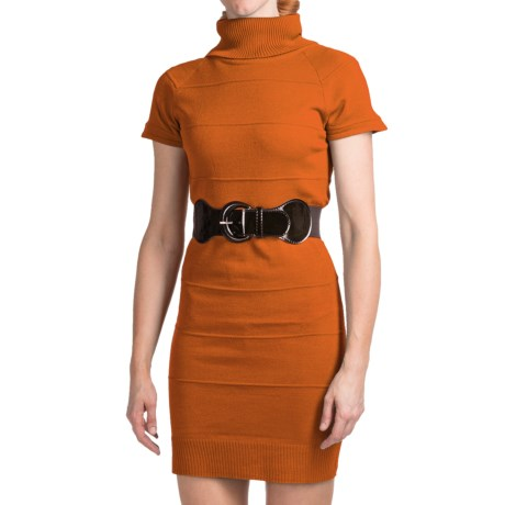 She's Cool Belted Sweater Dress - Turtleneck, Short Sleeve (For Women) in Russet