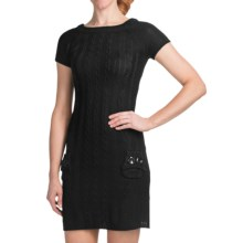 She's Cool Cable-Knit Sweater Dress - Short Sleeve (For Women) in Black - Closeouts