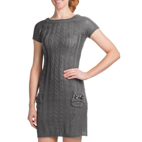 She's Cool Cable-Knit Sweater Dress - Short Sleeve (For Women) in Black