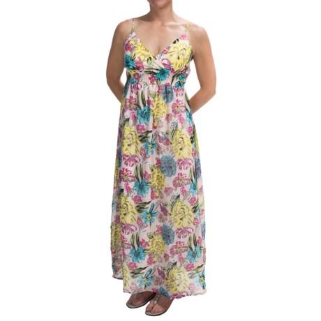 She's Cool Chiffon Maxi Dress - Sleeveless (For Women) in Blue/Fuchsia Floral