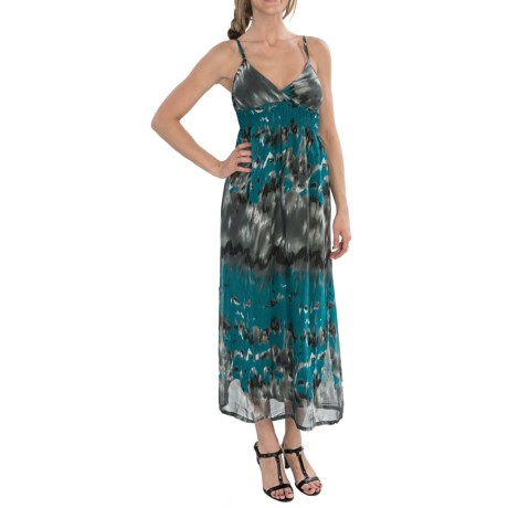 She's Cool Chiffon Maxi Dress - Sleeveless (For Women) in Teal