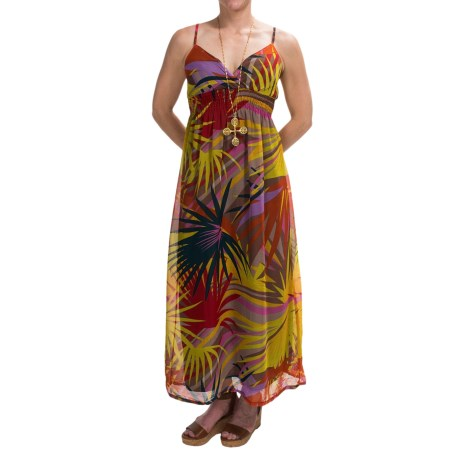 She's Cool Chiffon Maxi Dress - Sleeveless (For Women) in Yellow Lily