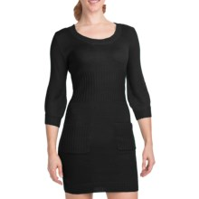 She's Cool Double Pocket Sweater Dress - 3/4 Sleeve (For Women) in Black - Closeouts