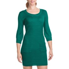 She's Cool Double Pocket Sweater Dress - 3/4 Sleeve (For Women) in Teal - Closeouts