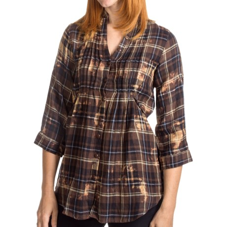 She's Cool Garment-Dyed Tunic Shirt - Mandarin Collar, 3/4 Sleeve (For Women) in Brown
