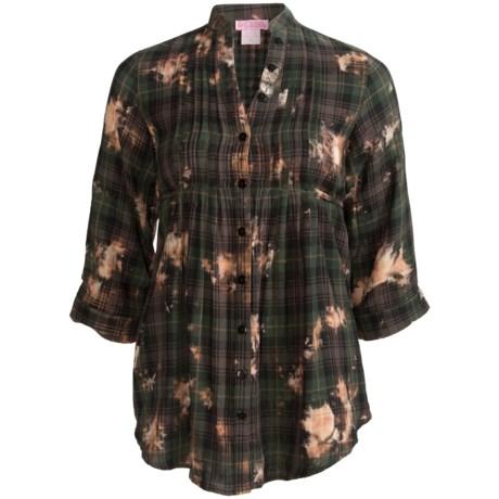 She's Cool Garment-Dyed Tunic Shirt - Mandarin Collar, 3/4 Sleeve (For Women) in Brown