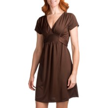 She's Cool Ity Tie Back Dress - Short Sleeve (For Women) in Brown - Closeouts