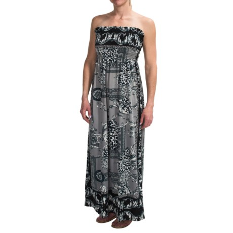 She's Cool Maxi ITY Knit Dress - Strapless (For Women) in Black/Grey Scarf Print