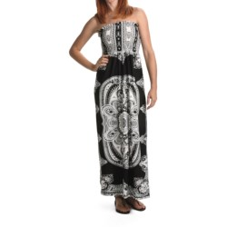 She's Cool Maxi ITY Knit Dress - Strapless (For Women) in Black/White