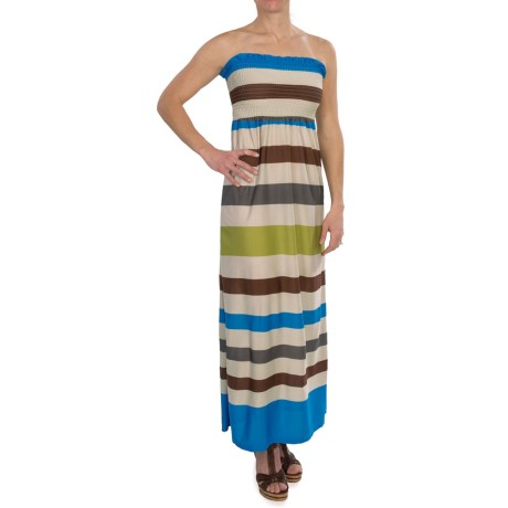She's Cool Maxi ITY Knit Dress - Strapless (For Women) in Blue