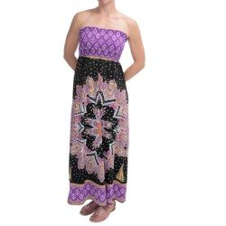 She's Cool Maxi ITY Knit Dress - Strapless (For Women) in Purple Medallion