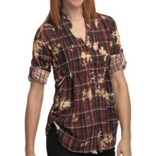 She's Cool Side Tie Tunic Shirt - Cotton, 3/4 Sleeve (For Women) in Red - Closeouts