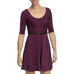 She's Cool Striped Skater Dress - Belted, 3/4 Sleeve (For Women) in Fuchsia/Black