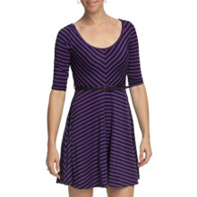 She's Cool Striped Skater Dress - Belted, 3/4 Sleeve (For Women) in Purple/Black - Closeouts