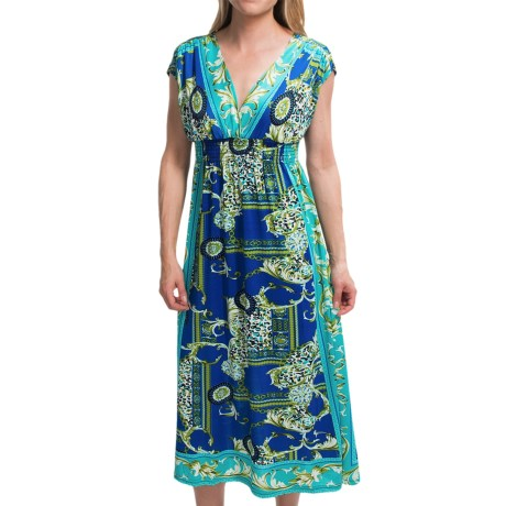 She's Cool Surplice Neck Dress - Short Sleeve (For Women) in Royal/Teal