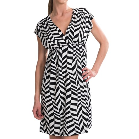 She's Cool Surplice Neck ITY Knit Dress (For Women) in Black/White