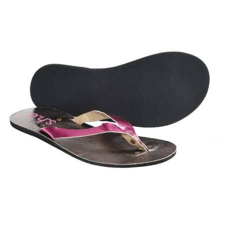 S.H.E. Metallic Sandals - Flip-Flops (For Women) in Dark Pink