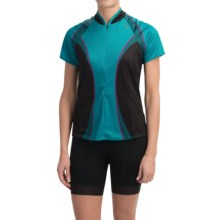 Shebeest Bellissima Cycling Jersey - UPF 45+, Short Sleeve (For Women) in Checker Aquamarine - Closeouts