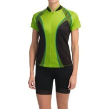 Shebeest Bellissima Cycling Jersey - UPF 45+, Short Sleeve (For Women) in Checker Key Lime - Closeouts