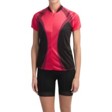 Shebeest Bellissima Cycling Jersey - UPF 45+, Short Sleeve (For Women) in Checker Watermelon - Closeouts
