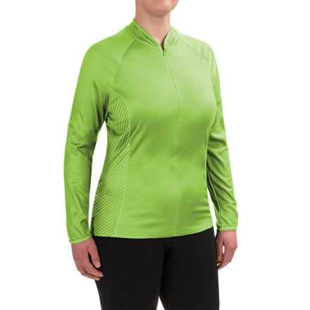 Shebeest Bellissima Cycling Jersey - UPF 45+, Zip Neck, Long Sleeve (For Plus Size Women) in Key Lime - Closeouts