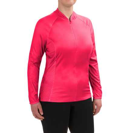 Shebeest Bellissima Cycling Jersey - UPF 45+, Zip Neck, Long Sleeve (For Plus Size Women) in Watermelon - Closeouts