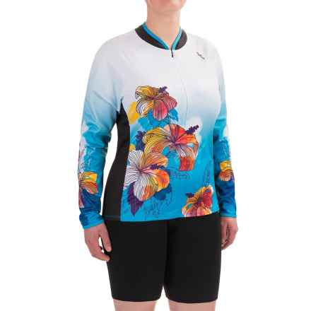 Shebeest Bellissima Hibiscus Cycling Jersey - UPF 45+, Zip Neck, Long Sleeve (For Plus Size Women) in Peacock - Closeouts