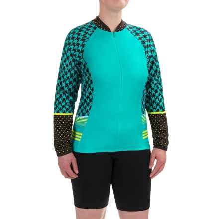 Shebeest Bellissima Pattern Cycling Jersey - UPF 45+, Zip Neck, Long Sleeve (For Plus Size Women) in Houndstooth Stripe Island - Closeouts