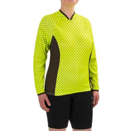 Shebeest Bellissima Pattern Cycling Jersey - UPF 45+, Zip Neck, Long Sleeve (For Plus Size Women) in Polka Mania Spry - Closeouts