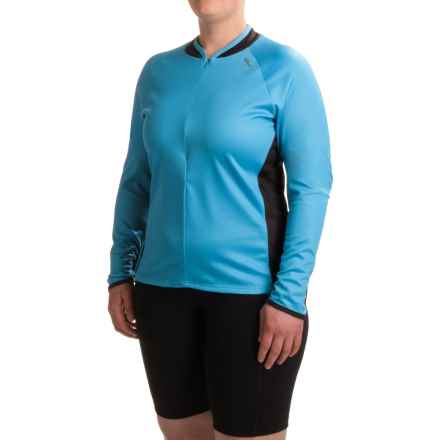 Shebeest Bellissima Solid Cycling Jersey - UPF 45+, Zip Neck, Long Sleeve (For Plus Size Women) in Peacock - Closeouts