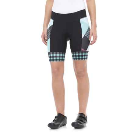 Shebeest Daisy Bike Shorts (For Women) in Tri Large Gingham Vintage Mint - Closeouts