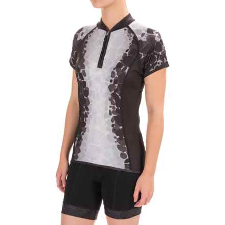 Shebeest Divine Cycling Jersey - UPF 25+, Zip Neck, Short Sleeve (For Women) in Lava Black - Closeouts