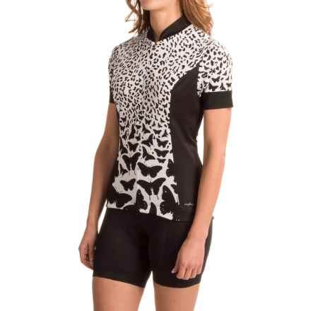 Shebeest S-Cut Cycling Jersey - UPF 45+, Short Sleeve (For Women) in Cheetafly Eggshell - Closeouts