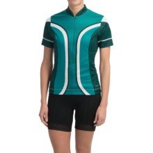 Shebeest S-Cut Cycling Jersey - UPF 45+, Short Sleeve (For Women) in Dots Aquamarine - Closeouts