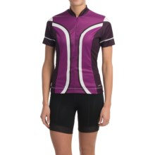 Shebeest S-Cut Cycling Jersey - UPF 45+, Short Sleeve (For Women) in Dots Boysenberry - Closeouts