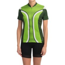 Shebeest S-Cut Cycling Jersey - UPF 45+, Short Sleeve (For Women) in Dots Key Lime - Closeouts