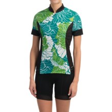 Shebeest S-Cut Cycling Jersey - UPF 45+, Short Sleeve (For Women) in Poppy Aquamarine - Closeouts