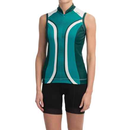 Shebeest S-Cut Cycling Jersey - UPF 45+, Sleeveless (For Women) in Dots Aquamarine - Closeouts