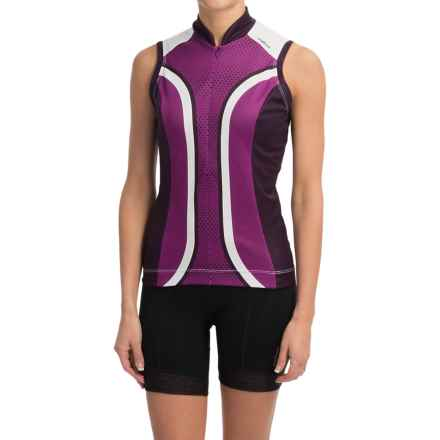 Shebeest S-Cut Cycling Jersey - UPF 45+, Sleeveless (For Women) in Dots Boysenberry - Closeouts