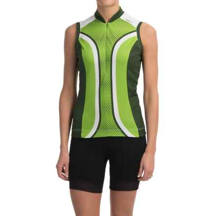 Shebeest S-Cut Cycling Jersey - UPF 45+, Sleeveless (For Women) in Dots Key Lime - Closeouts