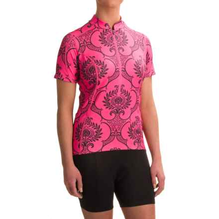 Shebeest S-Cut Cycling Jersey - Zip Neck, Short Sleeve (For Women) in Go For Baroque Prom - Closeouts
