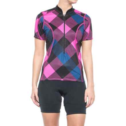 Shebeest S-Cut Cycling Jersey - Zip Neck, Short Sleeve (For Women) in Tri Large Gingham Boys And Berries - Closeouts
