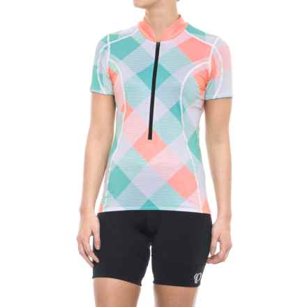 Shebeest S-Cut Cycling Jersey - Zip Neck, Short Sleeve (For Women) in Tri Large Gingham Vintage Mint - Closeouts