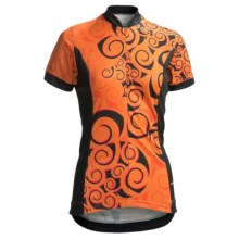 Shebeest S-Cut Koru Cycling Jersey - UPF 45, Short Sleeve (For Women) in Mango - Closeouts