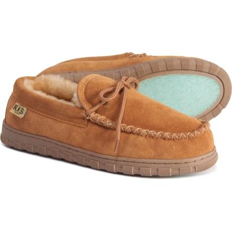 Sheepskin-Lined Moccasin Slippers - Leather (For Men) - CHESTNUT (11 )