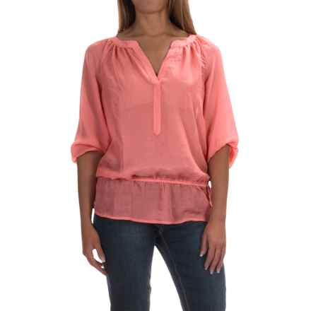 Sheer Elastic-Waist Blouse - Long Sleeve (For Women) in Coral - 2nds