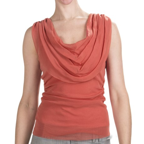 Sheer Ruched Tank Top (For Women) in Coral