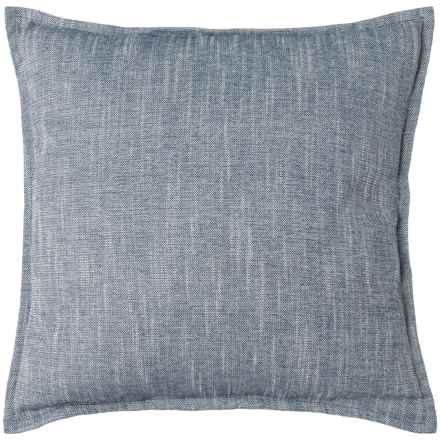 """Sheffield Home Rayon-Linen-Blend Denim-Look Decor Pillow - 20x20"""", Duck Feathers in Blue - Closeouts"""