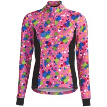 Sheila Moon DriFit Cycling Jersey - UPF 50+, Zip Neck, Long Sleeve (For Women) in Pink Bubble - Closeouts